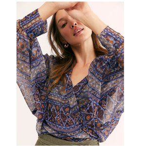 NWT Free People Solstice Shimmer Tie Front Kimono